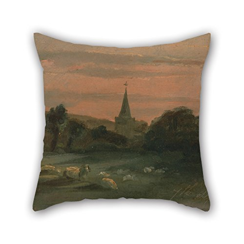 Artistdecor The Oil Painting Thomas Churchyard - Stoke Poges Church (Recto) Pillow Covers Of ,18 X 18 Inches / 45 By 45 Cm Decoration,Gift For Divan,Shop,Floor,Father,Home Office,Dance Room - Stoke Glider