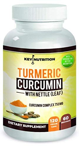 Turmeric Curcumin 1500mg with Black Pepper Extract & Nettle Leaf - 2 Month Supply - Maximum Pain Relief, 120 Capsules, High Absorption Formula with 95% Curcuminoids - Antioxidant, Anti-inflammatory ()