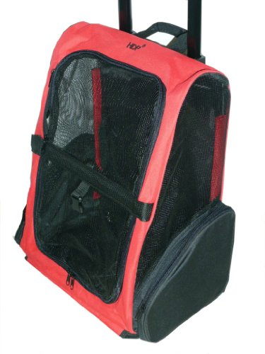 HDP Roll Along Carrier & Backpack Luggage ON WHEELS Color:Red