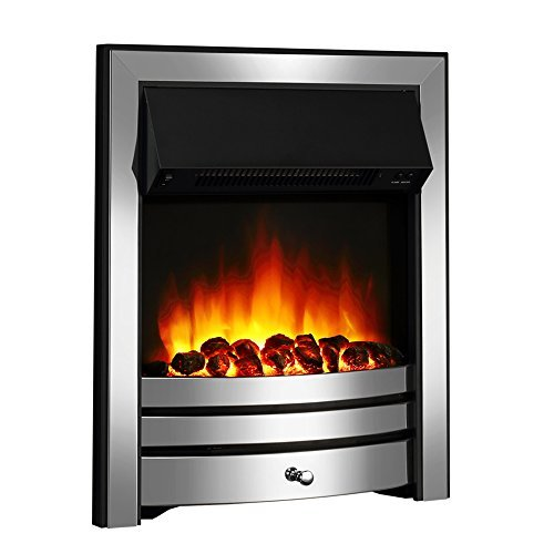 Roxby Inset Electric Fire, Chrome Trim and Fret, 220/240Vac 1&2kW, Remote control