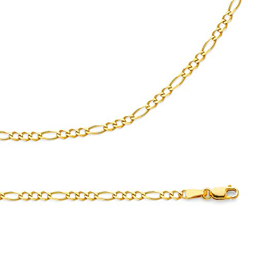 Solid 14k Yellow Gold Necklace Figaro Chain 3 + 1 Link Italian Concave Style Thin 2.7 mm 16 inch (Style Figaro Chain Italian)