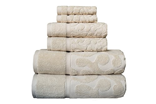 Classic 100% Turkish Cotton Sculpted Jacquard Complete 6 Piece Decorative Towel Set  600 GSM