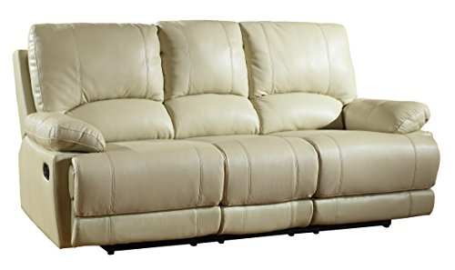 Blackjack Furniture 9345-BEIGE-S Sofa Leather Match Livingro