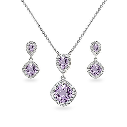 Sterling Silver Amethyst & White Topaz Dangle Earrings & Necklace Set