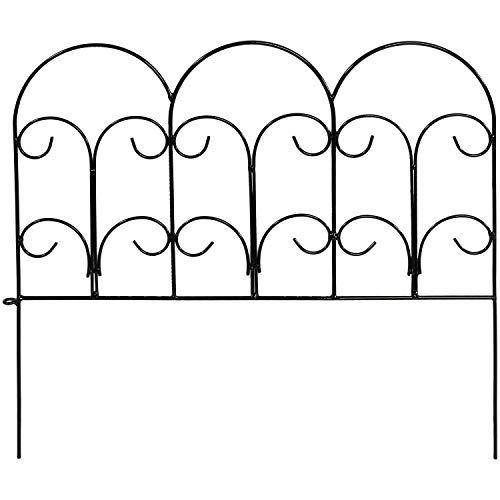 Sunnydaze 5 Piece Victorian Border Fence Set, Decorative Metal Garden Fencing, 16 Inches x 18 Inches Wide Each Piece, 7.5 Feet Overall ()