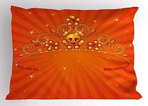 K0k2t0 Queen Pillow Sham, Fancy Halloween Princess Crown with Little Skull Daisies on Radial Orange Backdrop Stars, Decorative Standard Queen Size Printed Pillowcase, 30 X 20 inches, Orange for $<!--$8.99-->