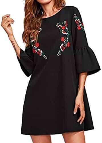 2096fd84ec9 Usstore Women Dresses Lantern Sleeve Floral Print Party Mini O-Neck Dress