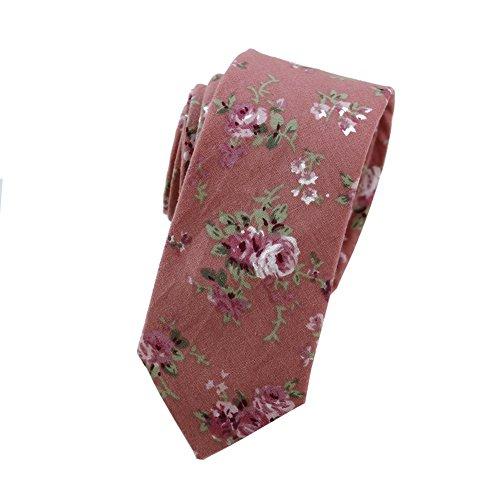 - Mantieqingway Men's Cotton Printed Floral Neck Tie (050)