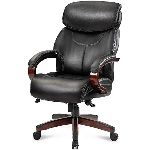 Danxee High Back Bonded Leather PU Leather Executive Office Chair with Wood Arms and Base in Black Boss Swivel Chair