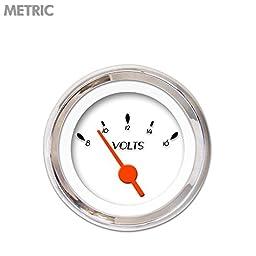 Aurora Instruments 6539 DECO XT White Metric Volt Gauge (Orange Vintage Needles, Chrome Trim Rings, Style Kit DIY Install)