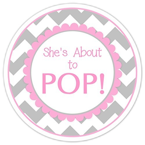 Amazon Com 36 Baby Shower Labels She S About To Pop Stickers Pink