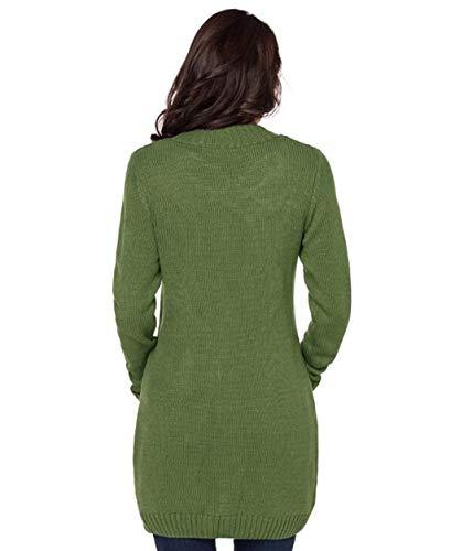 Punto Otoño Verde Fgsjej E Cardigan Mujer Larga Invierno De Suéter Manga Camisa twt7q6Y