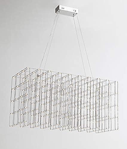 Lámpara colgante CONSTELLAR - LED, acero cepillado, se asemeja a una jaula cuyas conexiones son fuentes de luz LED, un efecto visual y artístico único