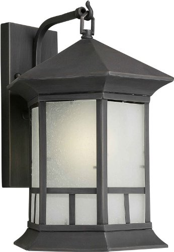 Bronze Lantern Royal (Forte Lighting 10014-01-14 Transitional 1-Light Energy Star CFL Exterior Wall Lantern, Royal Bronze Finish with Frosted Seeded Glass)