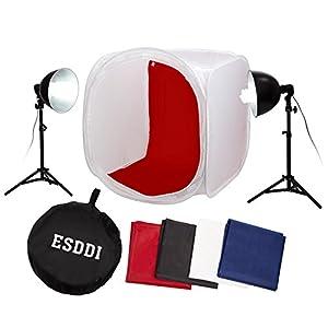 "ESDDI 32"" x 32"" / 80 x 80 cm Photography Lighting Tent Lightbox Kit with 4 x Backdrops (Black White Red Blue), 2 x Light Stands, 2 x 85W E27 Daylight Fluorescent Bulbs"