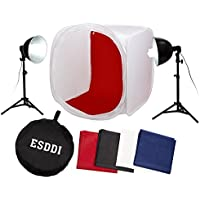 ESDDI 32 x 32 / 80 x 80 cm Photography Lighting Tent Lightbox Kit with 4 x Backdrops (Black White Red Blue), 2 x Light Stands, 2 x 85W E27 Daylight Fluorescent Bulbs