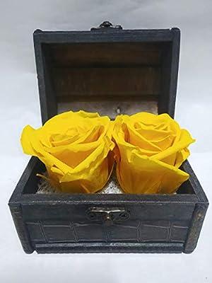 Rosas eternas Amarillas. Gratis TU ENVÍO. Precioso Cofre de Madera ...