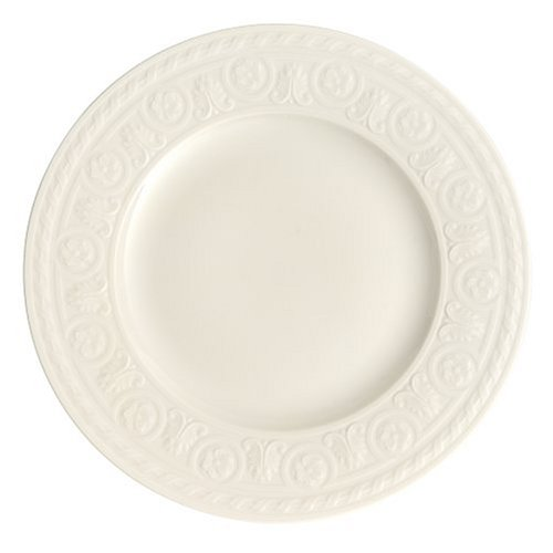 Cellini Salad Plate Set of 6 by Villeroy & Boch - Premium Porcelain - Made in Germany - Dishwasher and Microwave Safe - Elegant Engraved Detail - 8.5 Inches - - Plates & Boch Villeroy Microwave Safe
