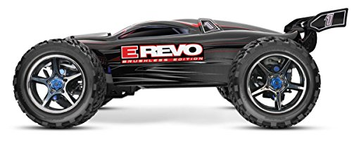 Traxxas E-Revo Brushless: 1 10 Scale 4WD Electric Racing Monster Truck with TSM TQi 2.4GHz Radio System - Black