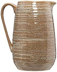 Creative Co-op Putty Grey & Brown Stoneware Pitcher with Reactive Glaze Finish (Each one Will Vary) Servew