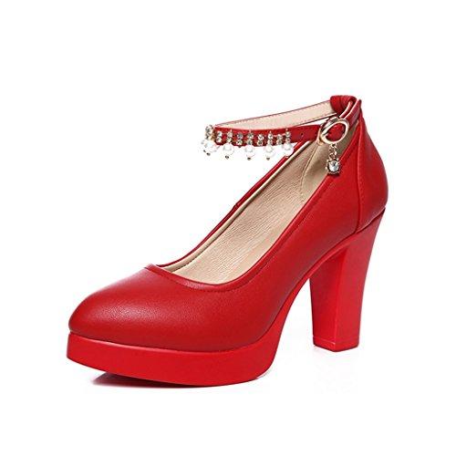 Single pour Chaussures hauts High High mariage chaussures 11cm talons taille de des female Shoes shoes avec femmes rugueuses plateforme rouge banquet long230mm 8cm Couleur 36 qrtEqw
