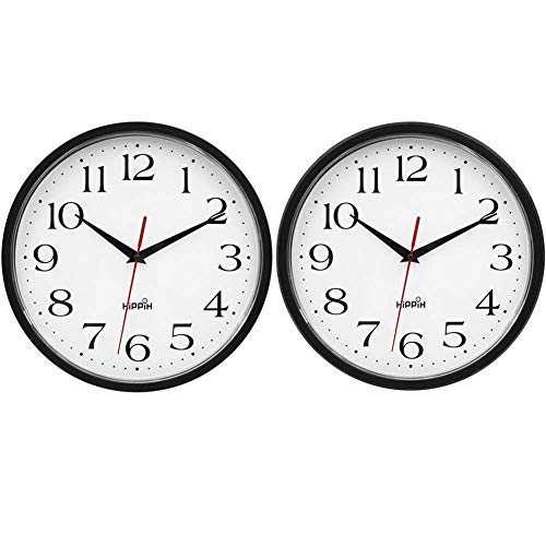 HIPPIH 2 Pack Silent Wall Clock - 10 Inch Non Ticking Digital Quiet Sweep Decorative Clocks, Black