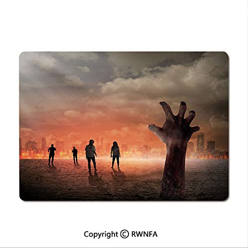 Custom Mouse pad,Hand Comes Out of Surface People Death in Town Burning City Digital Art Decorative(9.8