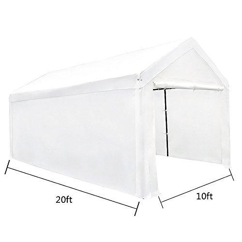 - Le Papillon 10 x 20-Feet Heavy Duty Carport, Portable Garage Car Canopy Shelter with Detachable Sidewalls, White