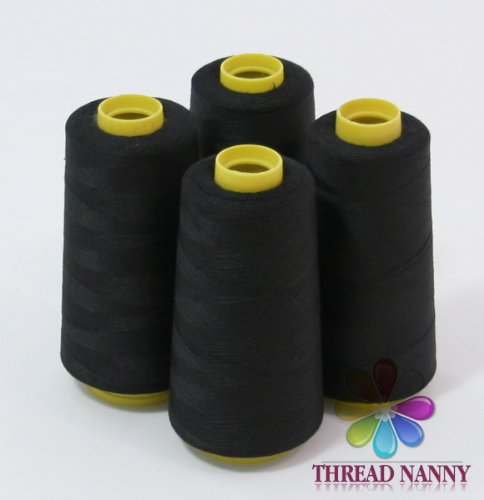 4 Large Cones (3000 yards each) of Polyester threads for Sewing Quilting Serger BLACK Color from ThreadNanny by ThreadNanny