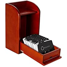 Rolodex Wood Tones Collection Photo Frame Business Card File, 300-Card, Mahogany (1734243) 3-Pack