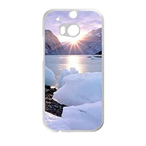 Personalized Creative Cell Phone Case For HTC M8,sunshine snow mountains and ice river winter scene