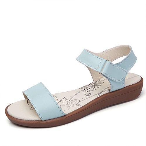 plataforma de cuña de abierta banda Velcro para sandals tobillo bajo mujer Jim plana Strappy puntera zapatos Azul single Agosto vestidos xA1qZZ
