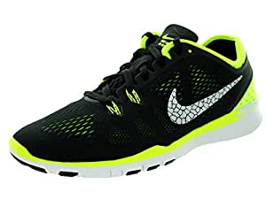 Nike Womens Wmns Free 5.0 TR Fit 5 BRTHE, BLACK/METALLIC SILVER-VOLT, 5 US