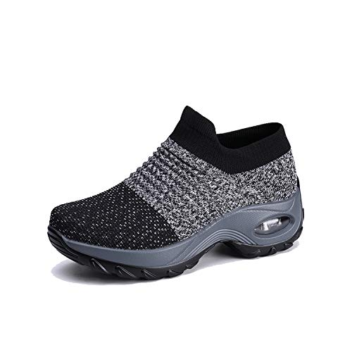 EXEBLUE Wommen Mesh Walking Shoes Slip on Breathable Fashion Sneakers Comfort Wedge Platform Loafers Grey