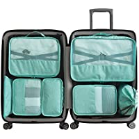 Cloudsky 7 Set Packing Cubes, Travel Storage Bags Multifunctional Clothing Sorting Packages, Travel Packing Pouches, Luggage Organizer Pouch, Shoe Bags (3 Travel Cubes + 4 Pouches, Blue)