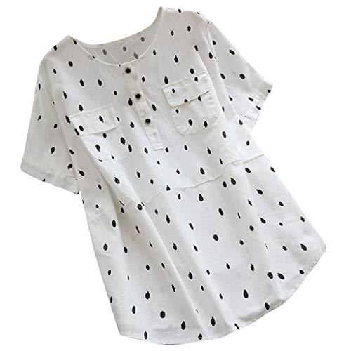 SUNyongsh Women Vintage Shirt Wave Point Blosue Plus Size O-Neck T-Shirt Short Sleeve Loose Tops