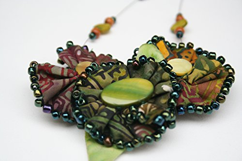 One of a Kind Beaded Necklace with Fabric Flower - Batik Soft Sculpture Flowers in Green Brown