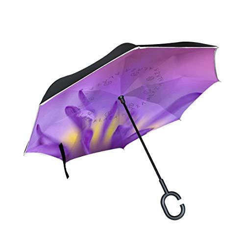 Reverse Umbrella Purple Chrysanthemum Petals Inverted Umbrella Reversible for Golf Car Travel Rain Outdoor -