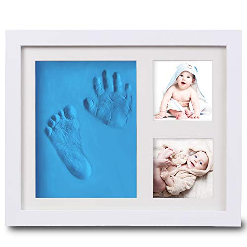 Baby Footprint Kit Picture Frame, Baby Shower Gifts for Newborn Girls Boys, Baby Handprint Kit, Boys Baby Shower Decorations Party Favors, Baby Keepsake Box for Nursery Decor (Blue) ()