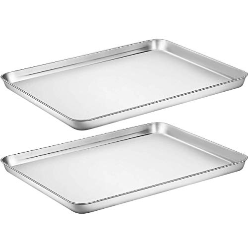 Baking Sheet Cookie Sheet Set of 2, Umite Chef Stainless Steel Baking Pans Tray...