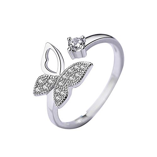 - Open Butterfly Ring Sterling Silver for Women Teen Girls Cubic Zirconia Adjustable Cuff Expandable Promise Band