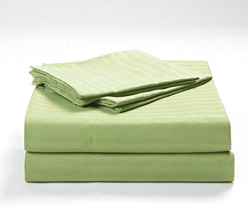 "- Linenwala 4 PC Bedding sheet set 400 TC 100% Egyptian Cotton Super Soft Long Staple, Italian finish fitted sheet fits upto 12"" deep pocket mattress Queen, Sage Stripe"