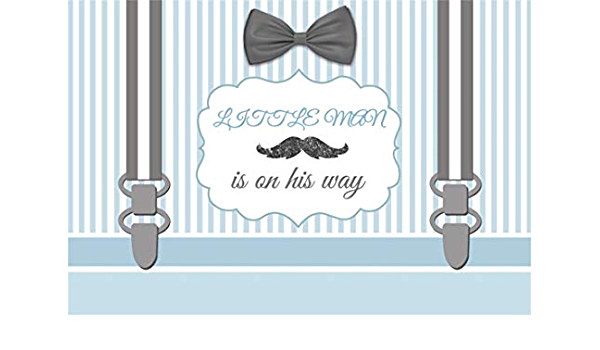 Yeele 10x8ft Photography Background Our Little Man is On His Way Black and White Line Bow Pattern Photo Backdrop Portrait Studio Props