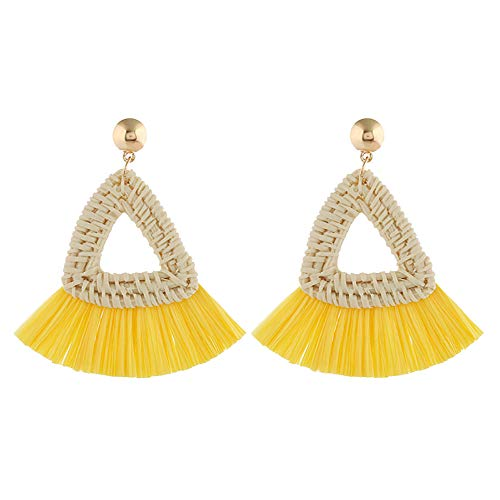 Twinsmall Dangle Earrings Tassel Hoop Earrings Bohemia Fan Shape Drop Earrings Dangle Hook Eardrop for Women Party ... (Yellow3) ()