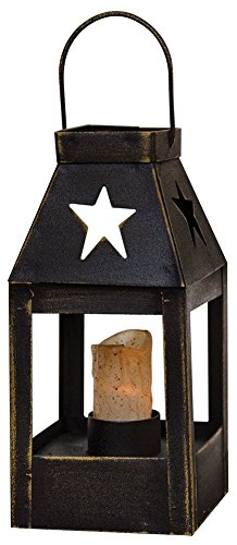 "CWI Gifts 5""x2.5"" Star Cutout Mini Lantern in Black Metal, 5"" x 2.5"""