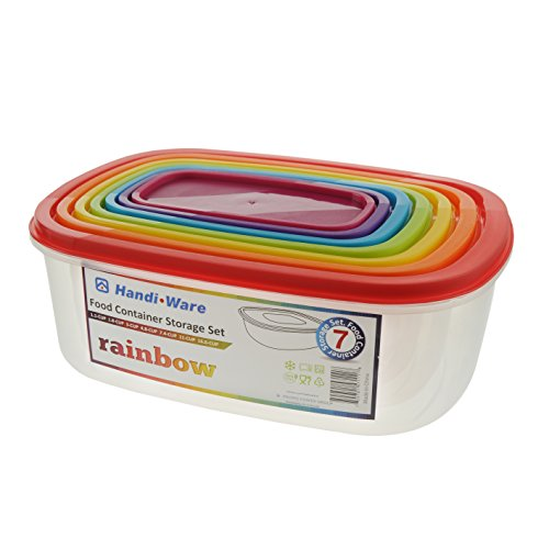 Handi-Ware Value Rainbow Food Container Storage Set - 7 Containers with 7 Colorful Lids - BPA-Free, Non-Toxic, Dishwasher-Safe, Microwave-Safe - Great for Everyday Use! - by Unity (Rectangle) (Container Ware)