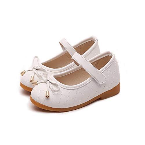 ALPHELIGANCE Girls Ballet Mary Jane Strap School Uniform Dress Flat Shoes (Toddler/Little Kid) White