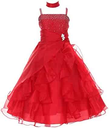 43343b96833d Huncho Big Girls Red Organza Layered Brooch Junior Bridesmaid Dress 8-18