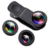 Phone iPhone Camera Lens,Oande 3 in 1 Fisheye Lens & 10X Macro Lens &0.65X Wide Angle Lens,Cell Phone Lens HD Camera Lens Kits for iPhone 7/6s Plus/6s/5s and Other Devices