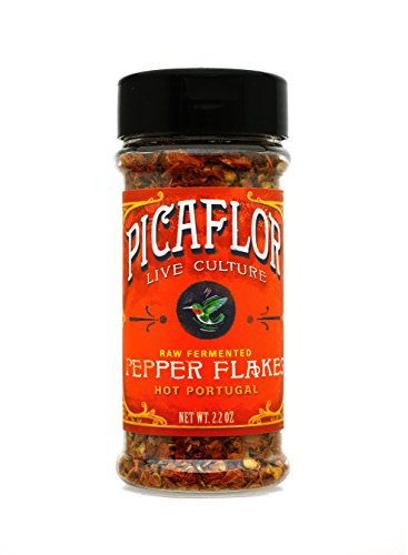 Picaflor Hot Portugal Organic Fermented Probiotic Pepper Flakes - Add Bold Flavor to Your Seasoning (Net. Wt. 2.4oz)